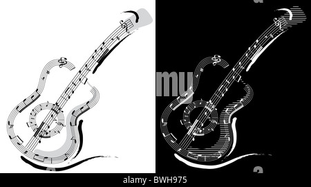 Guitar emblem isolated on white and black backgrounds - Stock Image