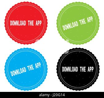 DOWNLOAD THE APP text, on round wavy border stamp badge, in color set. - Stock Image