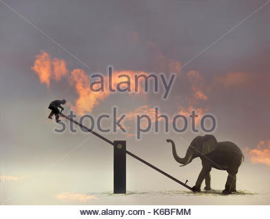 Man suspended in mid-air by elephant on seesaw - Stock Image
