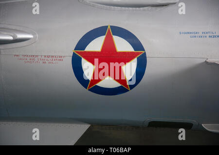 Roundel of the Yugoslav Air Force on a fuselage of MIG 21 displayed in Serbian Aeronautical museum in Belgrade - Stock Image