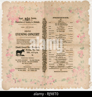 ROYAL SOCIETY FOR THE PREVENTION OF CRUELTY TO ANIMALS - Grand Evening Concert held in the (small) Concert Hall, Blackheath south-east London - Stock Image