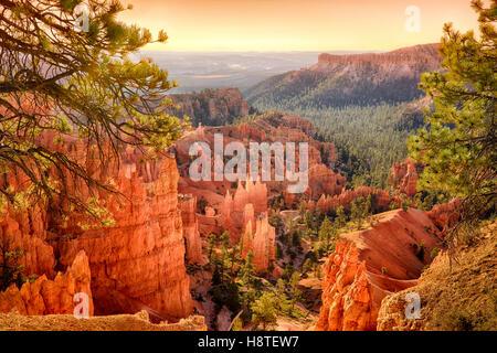 Sunset at Bryce Canyon National Park, Utah, USA - Stock Image