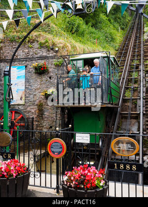 Carriage descending to the Lynmouth end of the 1888 Lynton to Lynmouth cliff railway. - Stock Image
