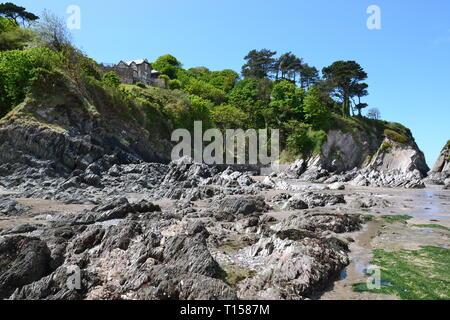 Lee Bay or just Lee is a small village on the North Devon coast near Woolacombe, Devon, UK - Stock Image