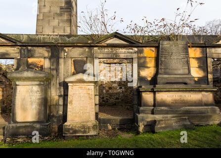 EDINBURGH, SCOTLAND - FEBRUARY 9, 2019 - The Old Calton Burial Ground, graveyard at Calton Hill - Stock Image
