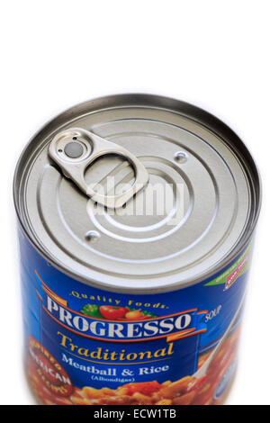 A pull tab for opening a soup can - Stock Image
