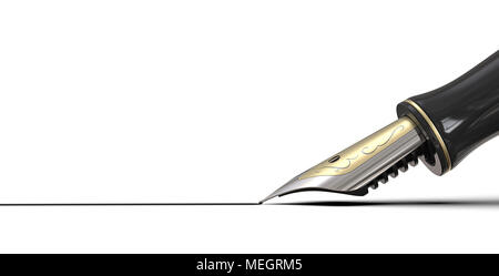 Close up of Fountain pen drawing line of ink on white background. Black, steel and gold. 3d render, copy space. - Stock Image