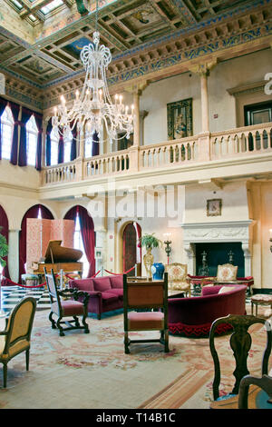 Interior of Ca d'Zan, the Mediterranean Revival mansion of circus owner and art collector John Ringling and his wife Mable, Sarasota, Florida. - Stock Image
