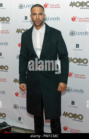 Marvin Humes posing for photographers on the red carpet at the 2017 MOBO Awards. Marvin Humes is a singer, formerly of pop group JLS, and DJ, television presenter and radio host. Humes co-hosted the MOBOs event. - Stock Image