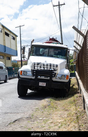Mack truck in Saint John's, Capital of Antigua and Barbuda - Stock Image