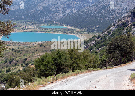 Crete, Greece. June 2019. An overview of two artificial lakes viewed from the Gorge of Embassa in the Lasithi region of Crete. - Stock Image