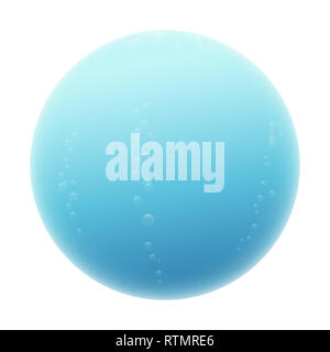 Water sphere. Blue misty ball with some bubbles - illustration on white background. - Stock Image