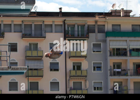 Bolzano, Italy. 07th, Jul 2018. Flander Florian from Germany competes in the Men's 10m Platform Diving Semi-Final on day two at Bolzano Lido, during 24th FINA Diving Grand Prix in Bolzano, Italy, 07 July 2018. (PHOTO) Alejandro Sala/Alamy Live News - Stock Image