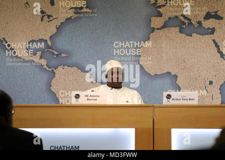 London, UK. 18th April 2018. President Adama Barrow of Gambia, speaking at the Chatham House think-tank in London on 18 April, 2018. Credit: Dominic Dudley/Alamy Live News - Stock Image