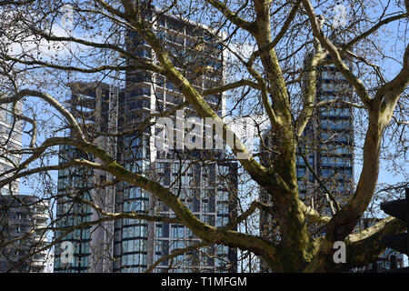 View from Milbank across the River Thames,London.UK - Stock Image