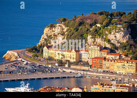 City of Nice colorful waterfront and yachting harbor aerial view, French riviera, Alpes Maritimes department of France - Stock Image