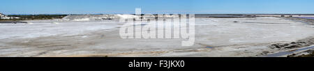 A panorama of the salt works at Salin-de-Giraud. Salin-de-Giraud is located in the Camargue, Provence, France. - Stock Image