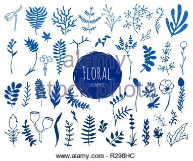 Collection of hand drawn blue waterlocor floral elements. You can use the set to create your own compositions. - Stock Image