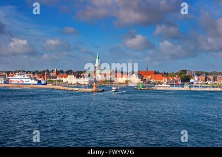 Entrance to the harbor in Helsingør seen from a boat crossing Øresund. - Stock Image