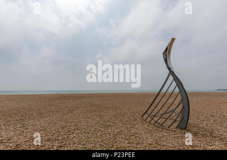 The Landing by sculptor Leigh Dyer in Hastings Beach, Hastings, East Sussex, England , UK - Stock Image