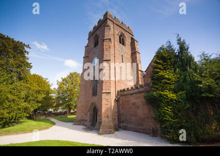 Built in the 14th century Saint Mary the Virgin Church Overton on Dee home of the Overton yew trees one of the seven wonders of Wales - Stock Image