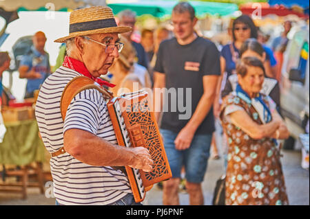 Saint Felicien, Ardeche department of the Rhone Alps and an accordion player entertains people at the cheese festival. - Stock Image