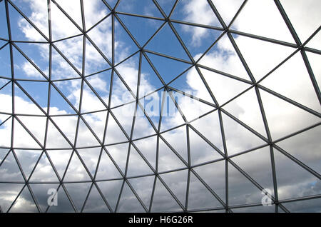 Geodesic structure with cloudy blue sky. Viewing platform on top of Victoria Square shopping center Belfast. - Stock Image