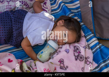 1, one, Hispanic girl, baby girl drinking from baby bottle, toddler, Castro Valley, Alameda County, California, - Stock Image