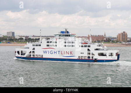 Wightlink car ferry crossing the Solent between Portsmouth and the Isle of Wight - Stock Image