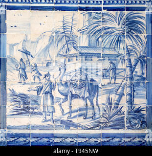 Blue and white azulejo tiles Oriental Far Eastern landscape China with camel, University of Evora, Portugal - Stock Image