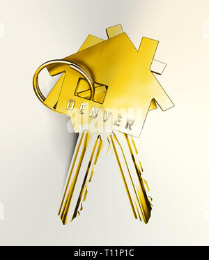 Denver Real Estate Keys Illustrates Colorado Property And Investment Housing. Realty Purchasing And Selling - 3d Illustration - Stock Image