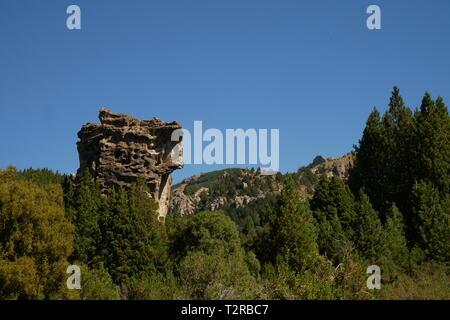 Rock formations in Caleufu River, Neuquen, Patagonia Argentina - Stock Image