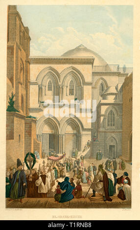 Middle East, Israel, Jerusalem, the Church of the Holy Sepulchre, coloured steel engraving by Bruch after Halbreiter, by Friedrich Adolf and Friedrich Otto Strauss, around 1860. , Artist's Copyright has not to be cleared - Stock Image