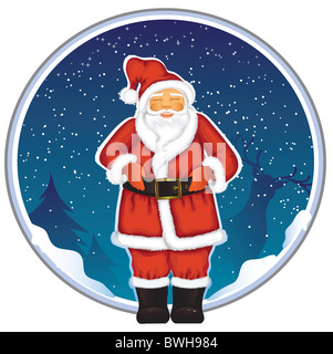Santa Claus with blue background isolated on white background - Stock Image