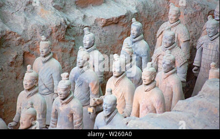 XIAN, CHINA - October 8, 2017: Famous Terracotta Army in Xi'an, China. The mausoleum of Qin Shi Huang, the first Emperor of China contains collection - Stock Image