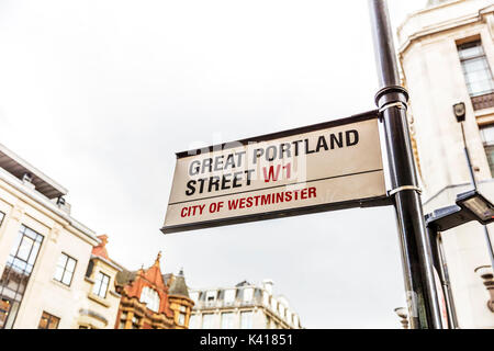 Great Portland Street sign, Great Portland street London, London W1, London road sign, city of Westminster, London streets, sign, signs, - Stock Image
