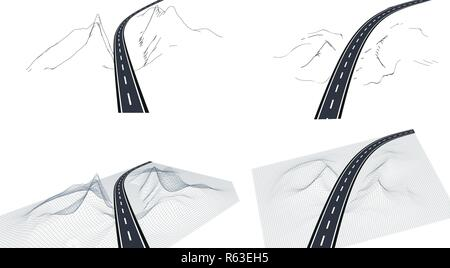 Road, highway in 3D on the interface. View from above and in Perspective. Highway design. Skeletal landscape. illustration - Stock Image