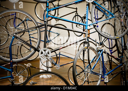 Art sculpture made from bicycles - Stock Image