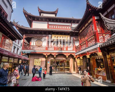 29 November 2018: Shanghai, China - Street in the Old Town shopping area, a major visitor attraction. - Stock Image