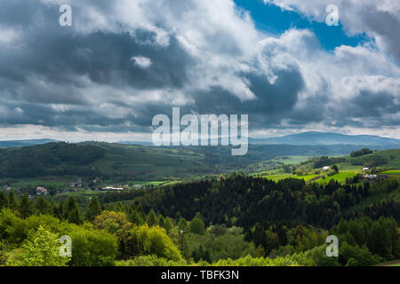 Wide vista over countryside in southern Poland. - Stock Image