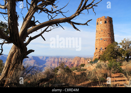 Indian Watch Tower at the Desert View viewing area of Grand Canyon National Park. - Stock Image