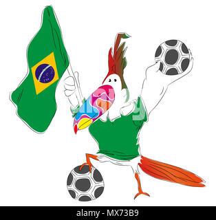 Soccer Mascot for Brazil.   Brazil Parrot mascot for football tournaments. - Stock Image