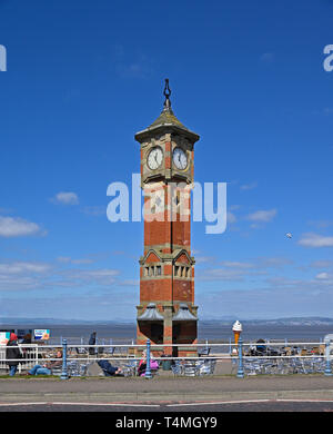 The Clock Tower and the Clock Tower Cafe. The Promenade, Morecambe, Lancashire, England, United Kingdom, Europe. - Stock Image