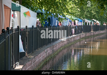 Stalls in Minster Pool Gardens for the Florette Festival Market as part of Lichfield Festival on Saturday 6th July - Stock Image