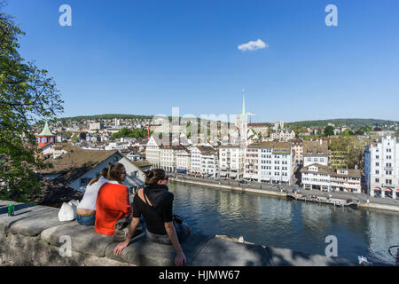 Panoramic view from Lindenhof to river Limmat, historic old city center, Cityscape, - Stock Image