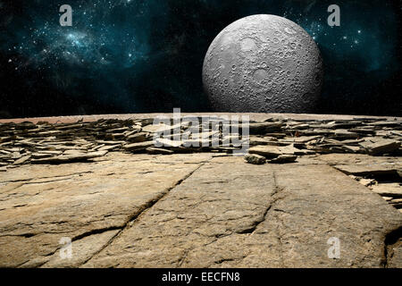 An artist's depiction of the view from a rocky and barren alien world. A large cratered moon rises over the - Stock Image