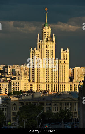 MOSCOW, AUGUST 7, 2018: Tall residential building on Kotelnicheskaya embankment of the Moscow river. One of the seven skyscrapers of Stalin's era, so  - Stock Image