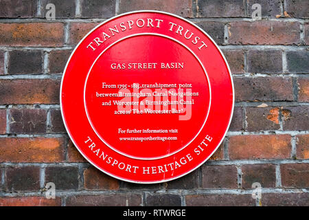Transport Trust plaque on wall in Gas Street Basin Canal area, Birmingham, England, GB, UK. - Stock Image