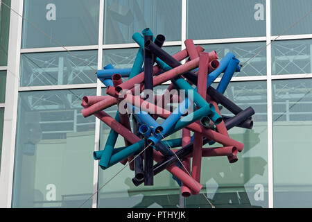 Modern abstract sculpture above the entrance to the ICICS Computer science building on the campus of  University of British Columbia, Vancouver, BC, C - Stock Image