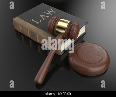 Worn Law book and hammer on black backgound surface. 3D render. - Stock Image